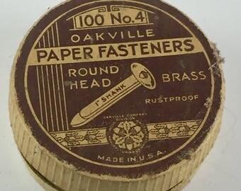 Vintage Oakville Paper Fasteners Box