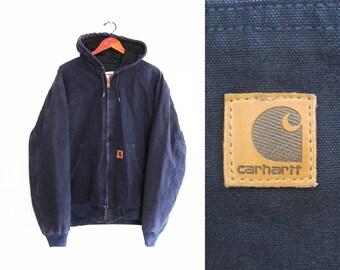 vintage jacket / Carhartt jacket / canvas jacket / workwear / 1990s navy Carhartt canvas hoodie jacket XL