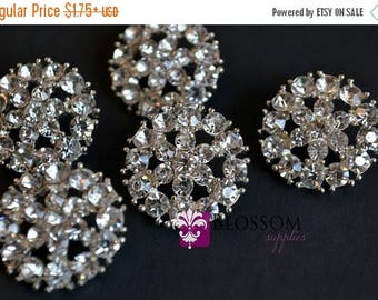 ON SALE Metal Rhinestone Buttons with Loop Crystal Clear 20mm - Flower Centers - Wedding Bridal Prom Craft Supplies - Wholesale Embellishmen