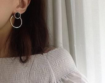 ON SALE Geo large circle earrings - Large dangle open circle earrings - large circle studs - Button earrings - front back earrings