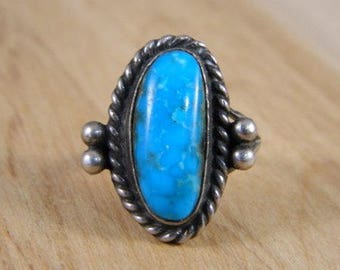 Blue Turquoise Ring / Vintage Sterling Silver and Turquoise Native American Ring / Indian Ring Size 6.5