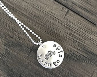 Born To Ride. Motorcycle Necklace.