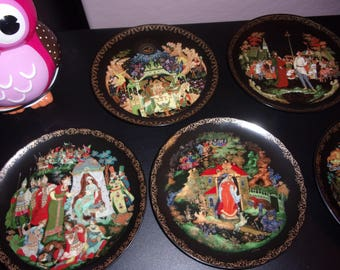 Set of 7 Russian Fairy Tale decorative plates by Tianex