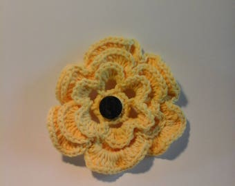 Yellow Crocheted Flower Pin