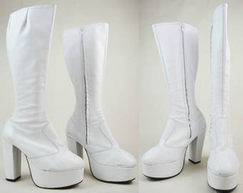 90s Does 70s White Leather Knee High Chunky Platform Boots UK 8 / US 10.5 / EU 41