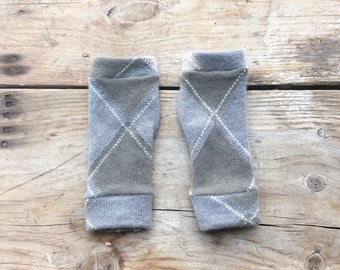 XS Fingerless Gloves in greys, cashmere, wrist warmers, typing gloves in greys