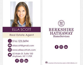 Berkshire Hathaway real estate DELUXE business cards - thick, color both sides - FREE UPS ground shipping