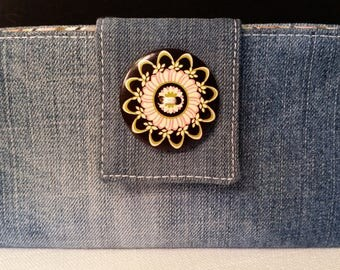 Denim Jean Bi Fold Wallet with Black Trim and Painted Button
