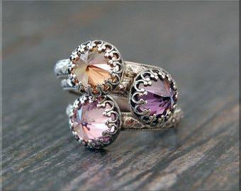 Sterling Silver Birthstone Ring, Inverted Gemstone Ring, Birthstone Stacking Ring, Choose Your Birthstone, Mothers Ring, Birthstone Gift