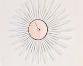 Unique Wall Clock, Rose Gold And White Home Decor, Home and Living, Decor and Housewares