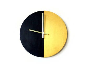 Silent Bedroom Wall Clock, Black and Gold Wood Clock,  Home Decor,  Home and Living