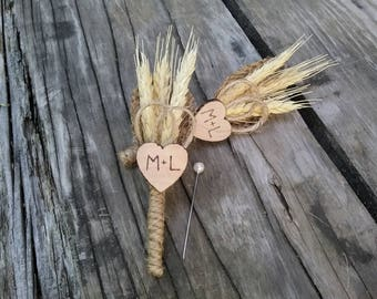 Personalized Rustic Heart Wedding Boutonniere with Wheat