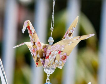 Yellow w/ Cherry Blossoms Origami Crane Ornament