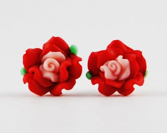 Red Rose Earrings with Pink Center - Rose Stud Earrings - Polymer Clay Earrings - Post Earrings