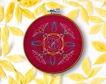 mandala embroidery pattern, yoga decor bedroom, embroidery pdf, modern needlework, hand embroidery diy, beginner wall art, hoop art