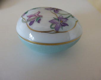 Limoges Egg Shaped Trinket - Pill box, Hand Painted.