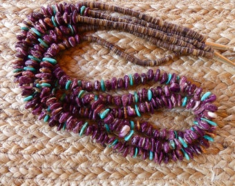 Fabulous Vintage Native American 30 Inch Triple Strand Purple Spiny Oyster and Turquoise Necklace