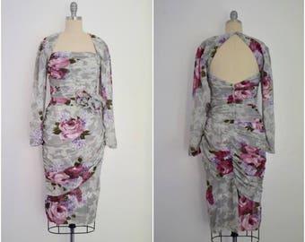 Vintage 1980s Grey Chiffon Floral Ruche Dress