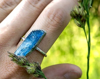 STERLING SILVER KYANITE Solitaire Ring
