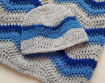 Crochet Baby Blanket and Baby Hat Set, ripple blanket, Gift Christening Baptism, baby shower, beanie, grey blue blanket