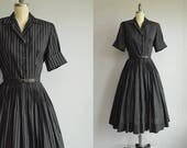 Vintage 40s Dress / 1940s Classic Black Menswear Pinstripe Cotton Shirtdress / LBD Pleated Skirt