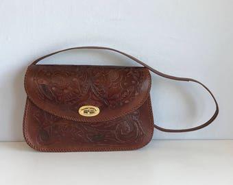 Vintage Tooled Leather Handbag / Hand Tooled Bag Purse Dark Brown Leather / New Old Stock