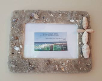 Beach Cross Frame 6x4 with Hand Collected Sand, Lettered Olive Sea Shells Wall Hang & Table Top! 4x6 available
