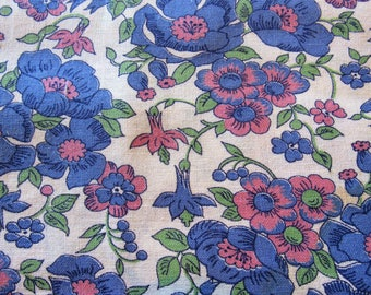 vintage FULL feed sack fabric -- pink, green and blue floral print