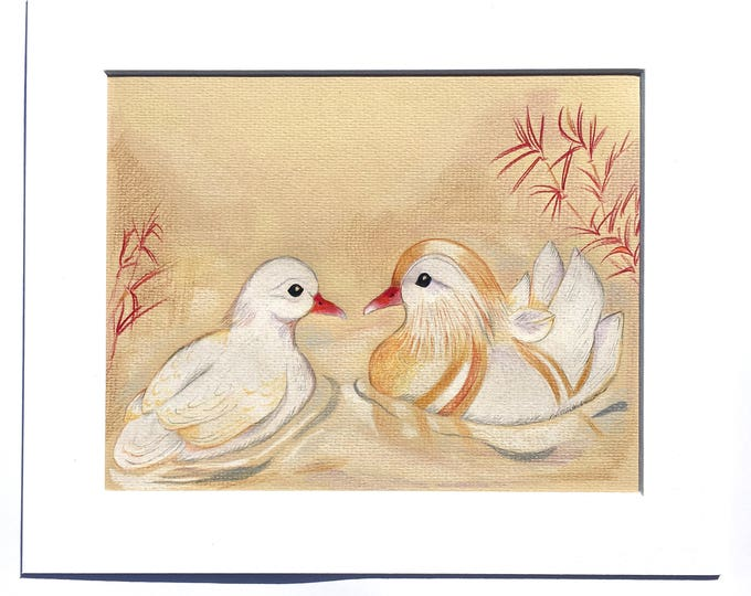ORIGINAL MOUNTED Albino WHITE Mandarin Duck Couple, Sweet Marriage Gift, Certificate of Authenticity, Feng Shui Symbol  Love & Loyalty.