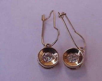Vintage Unique Deco .25ct Diamond 14k Yellow Gold Earrings, 1950s