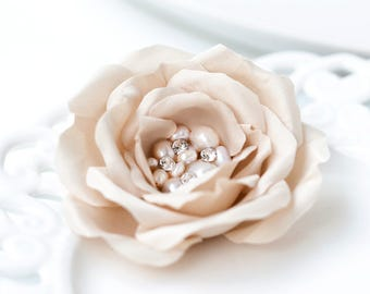 718 Champagne bridal hair piece,  Cream hair clips, Swarovski rhinestones, Champagne flower hair piece, Latte beige flower, Wedding pearls