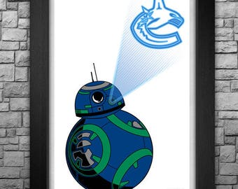 "BB-8 ""Vancouver Canucks"" inspired limited edition art print. Available in 3 sizes!"