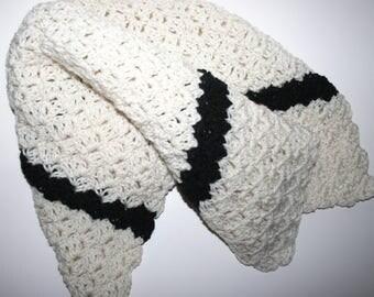 "Handmade Adult Lap Blanket Toddler Baby Car Blanket Cream w/ Black or Brown Approx 26x26"" Handmade Crochet Throw Female / Male Gift Idea"