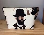 Large Makeup Bag, Mustache Man, Bowler Hat Bag, Mustache Toiletry Bag, Dapper Man Toiletry Bag, Mustache Makeup Bag