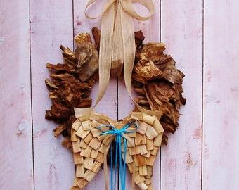 Driftwood Wreath-Angel Wings-Rustic Home Decor-Fall Wreath-Beach Home Decor-Angel Home Decor-Fall Front Door Wreath-Wooden Angel Wings