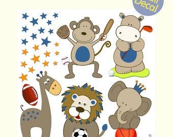 "Nursery Wall Decals Sports Safari Animals, Nursery Wall Stickers, Restickable Boys Nursery Decor,Football Soccer Basketball Golf 18""x18"""