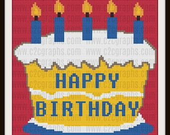 Happy Birthday Afghan, Happy Birthday Crochet Pattern, Happy Birthday C2C Graph, Corner to Corner, Birthday Cake Afghan