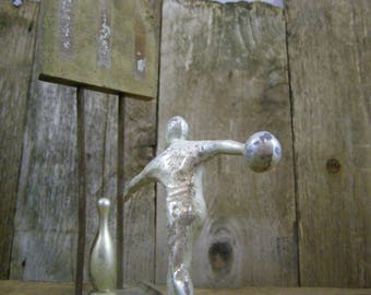 1940's Men's Bowling Trophy. Personalize for Someone Special. Art Project or Mixed Media Assemblage.