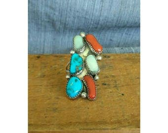 Vintage 1980s Multistone Navajo Sterling Silver, Coral, Turquoise, Mother of Pearl Southwest Ring Size 6