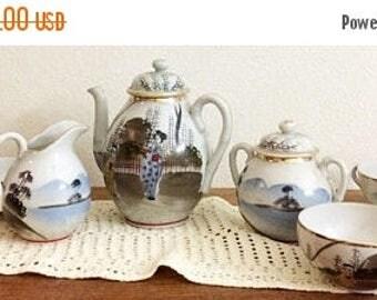 30% Off Clearance Sale Lovely Porcelain Japanese Tea Set-Teapot, Sugar, Creamer, Teacups-Hand Painted-Possibly Kutani