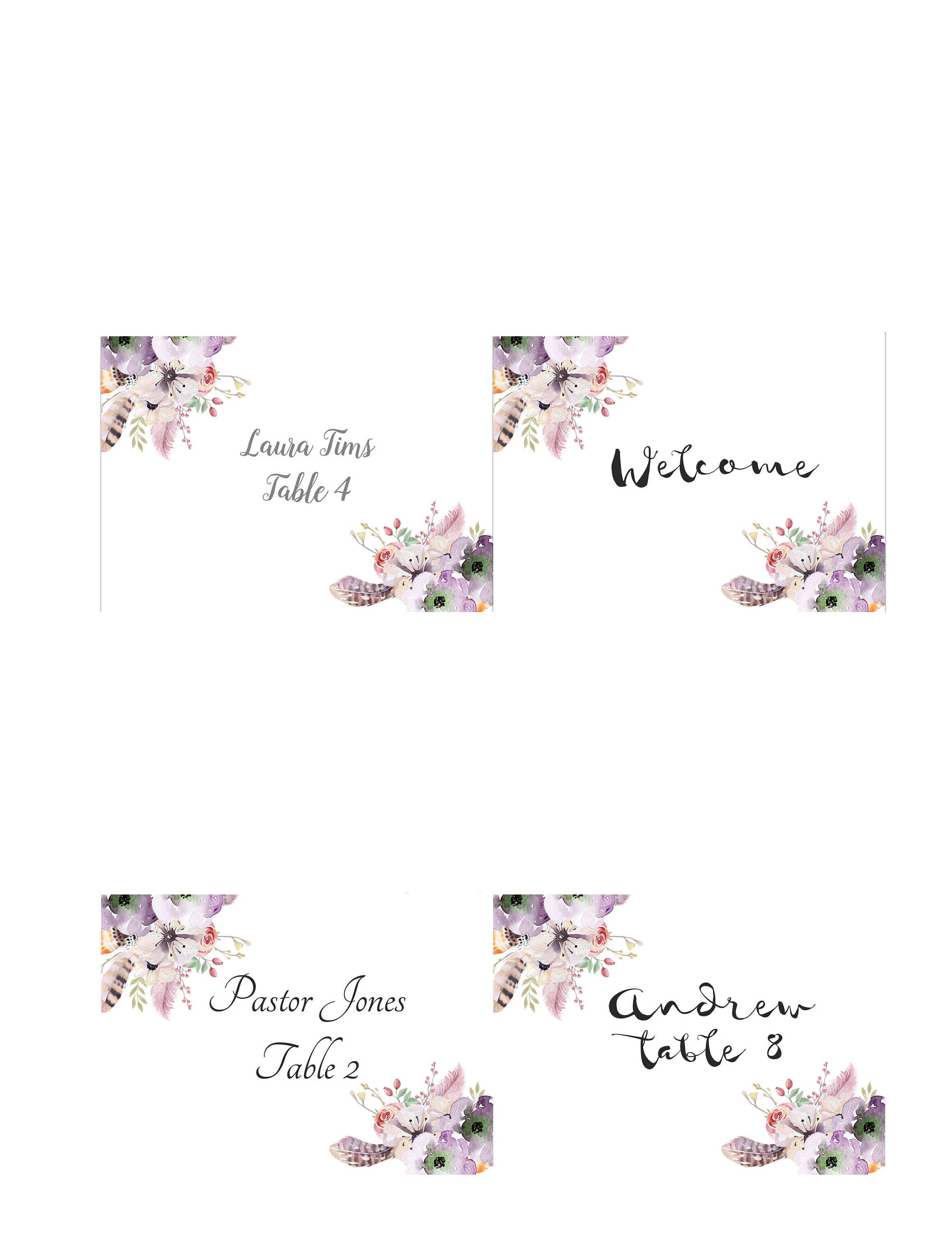 Boho Place Cards You Edit Print Wedding Instant Download