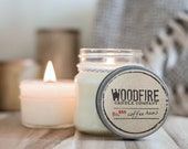 COFFEE HAUS- Wood Wick Mason Jar Soy Candle - 8oz - Perfect Gift- Woodfire Candle, coffee candle
