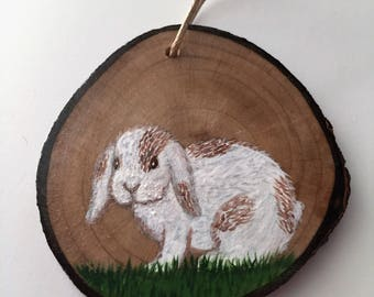 White Patch Lop-eared Bunny Recycled Wood Ornament Charm White Lopeared Rabbit Re-purposed Tree Branch Hand Painted Wall Art Home Decor