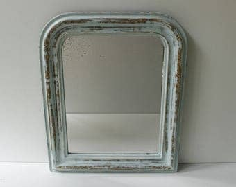 French Antique Mirror...upcycled and painted Duck Egg Blue