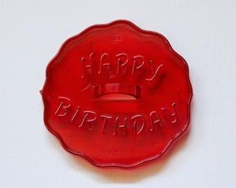 Vintage 1950s Plastic Cookie Cutter - 'HAPPY BIRTHDAY' (HRM)