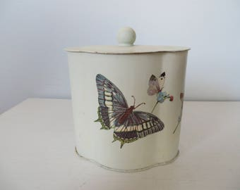 Vintage Decopage Decorated Butterfly Tin