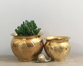 Vintage Brass Planter Set of Two Gold Planters Swirl Design Golden Metal Boho Chic