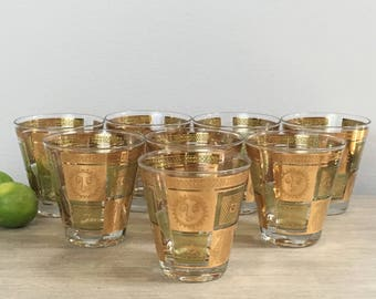 georges briard cocktail glasses gold whiskey glass set of eight 8 mid century mcm barware - Whiskey Glass Set