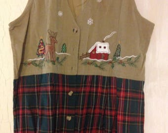 Vintage Christmas DRESS! Size - LARGE