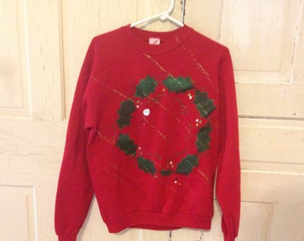 HOMEMADE 90's vintage Christmas sweatshirt - size LARGE